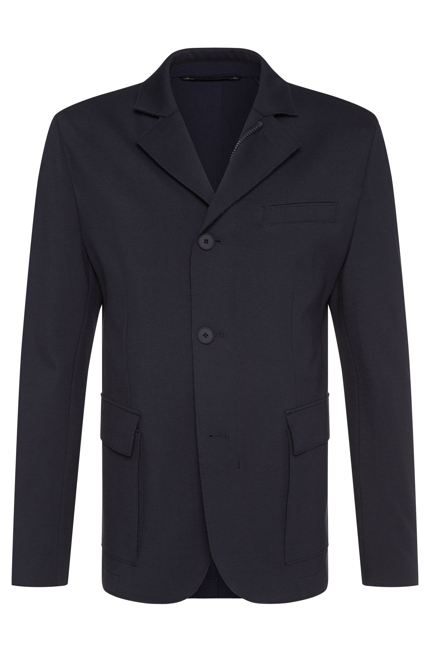 Veste de costume Slim Fit Tailored en viscose mélangée extensible, fermée par un zip : « T-Niam »