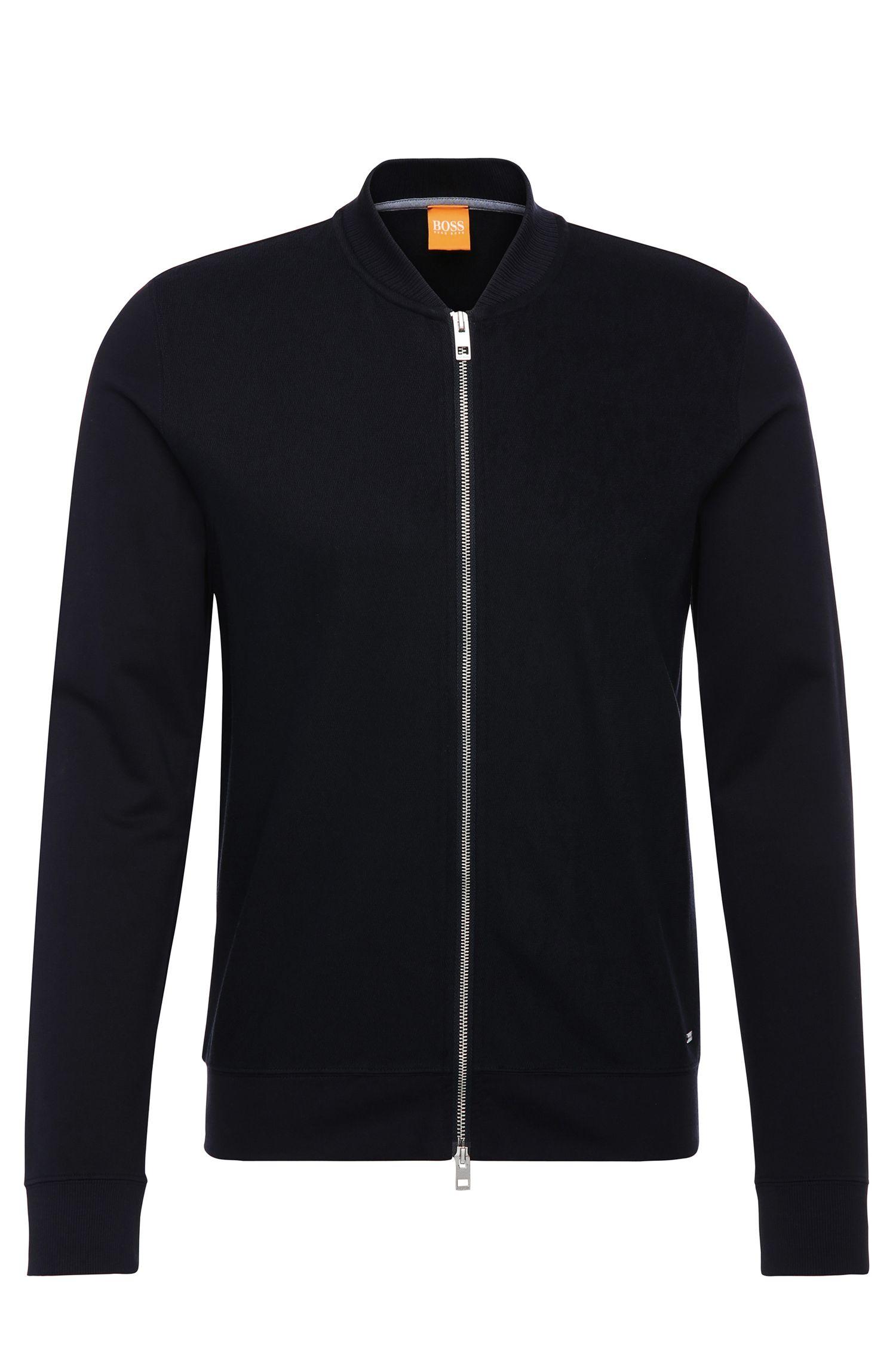 Regular-fit sweatshirt jacket in cotton: 'Ztripe'