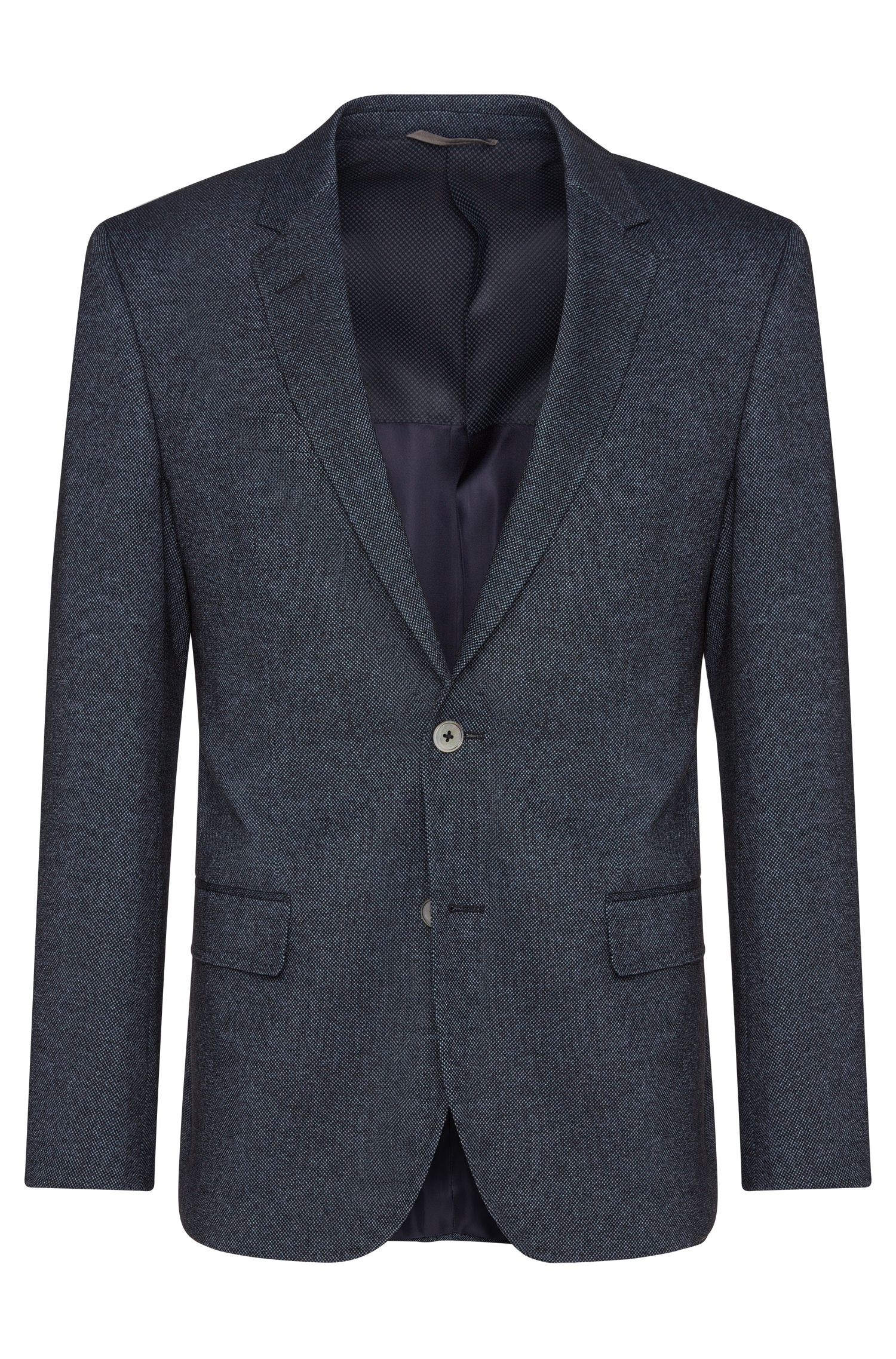 Slim-fit jacket in new-wool blend with cotton: 'Hutsons2'