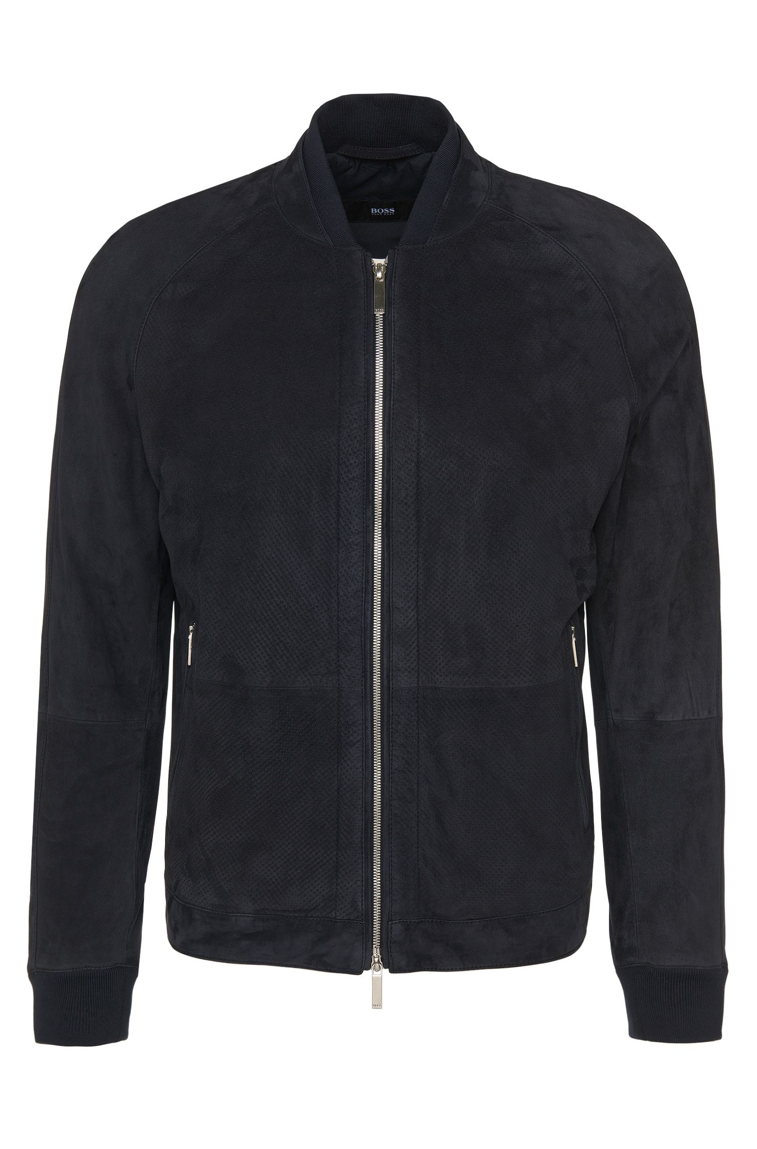 Suede jacket with perforated front: 'Gorin'