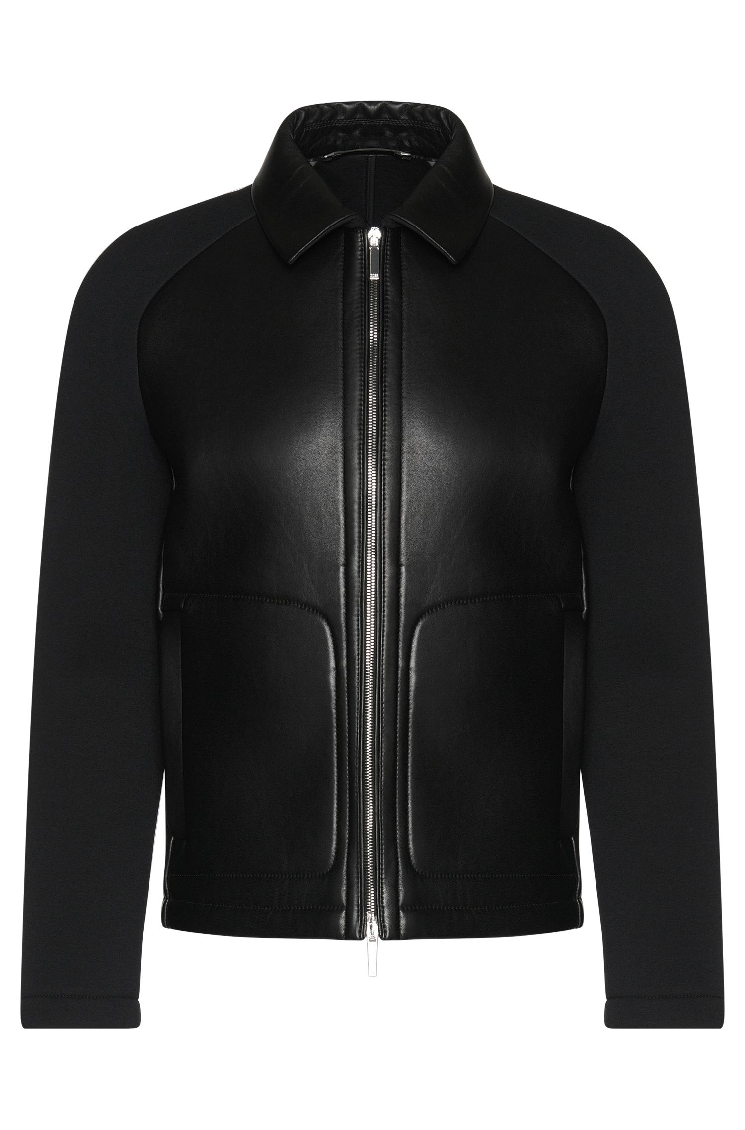 Tailored leather jacket with raglan sleeves: 'T-Corvis'