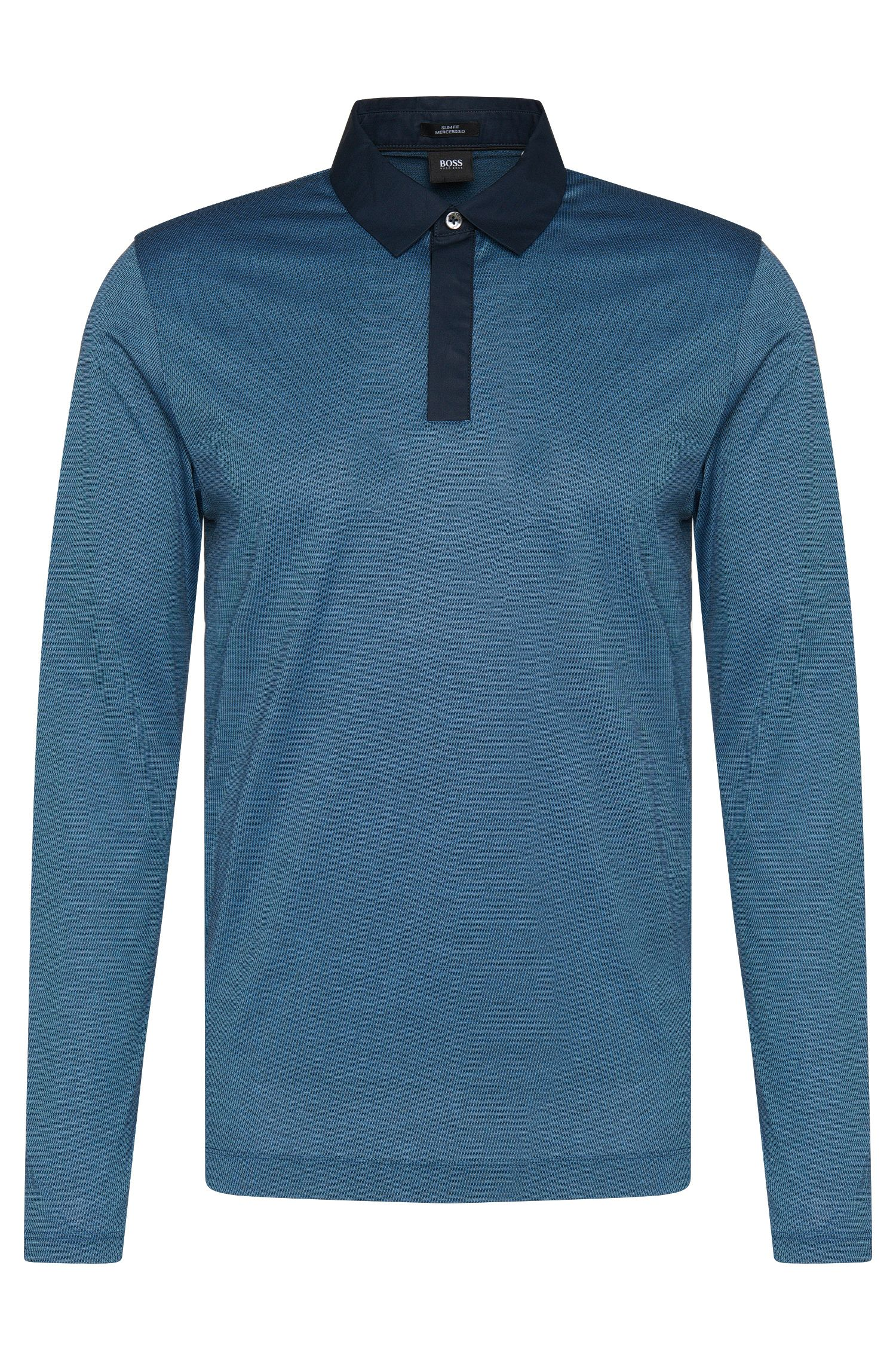 Gemustertes Slim-Fit Longsleeve-Poloshirt aus Baumwolle: 'Putney 01'
