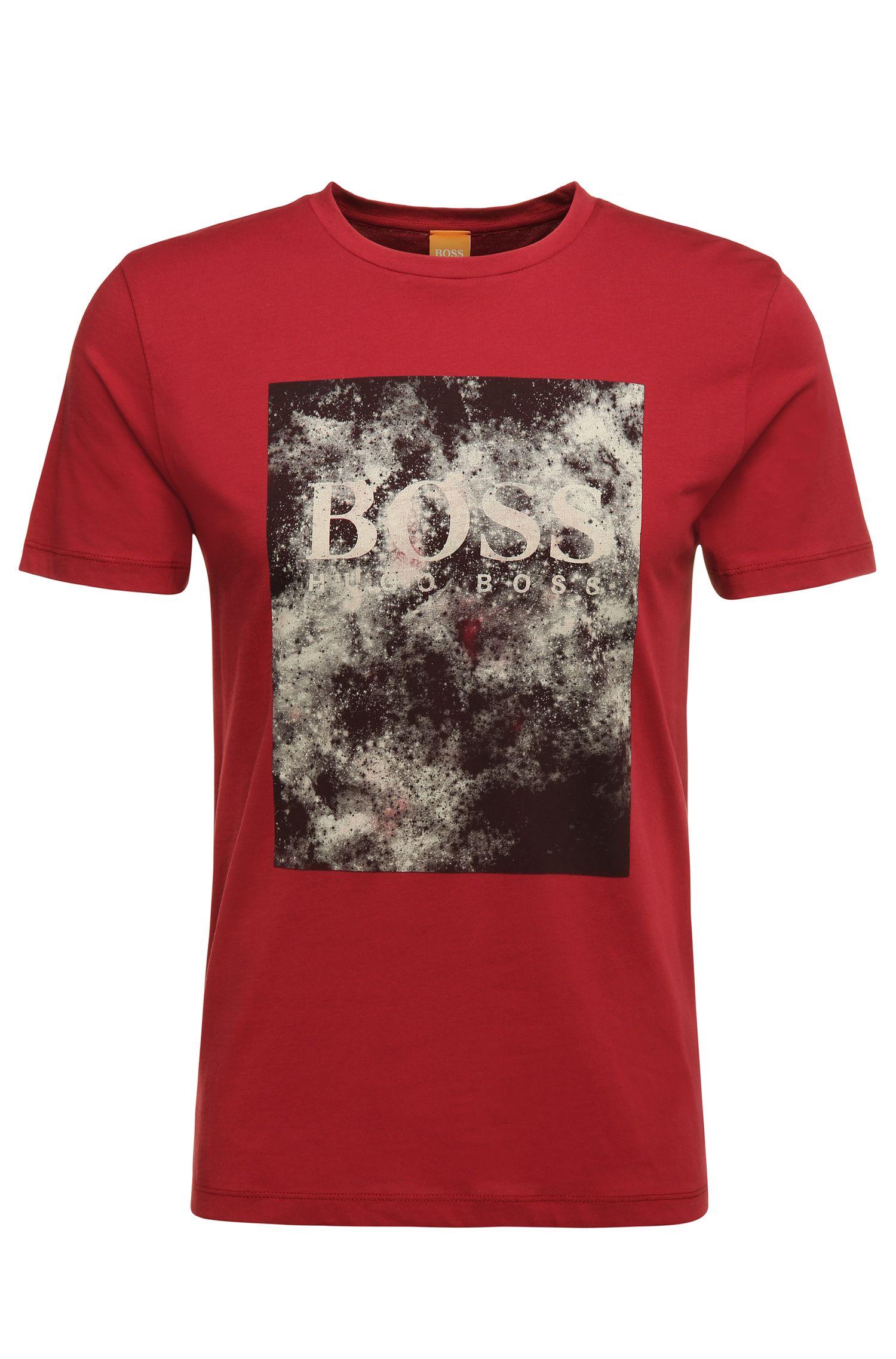 Regular-fit T-shirt van katoen met print: 'Theon 1'