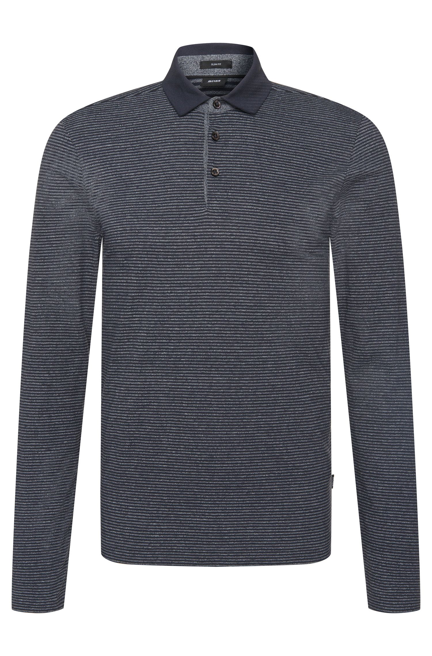 Striped slim-fit long-sleeved polo shirt in cotton blend: 'Prall 08'
