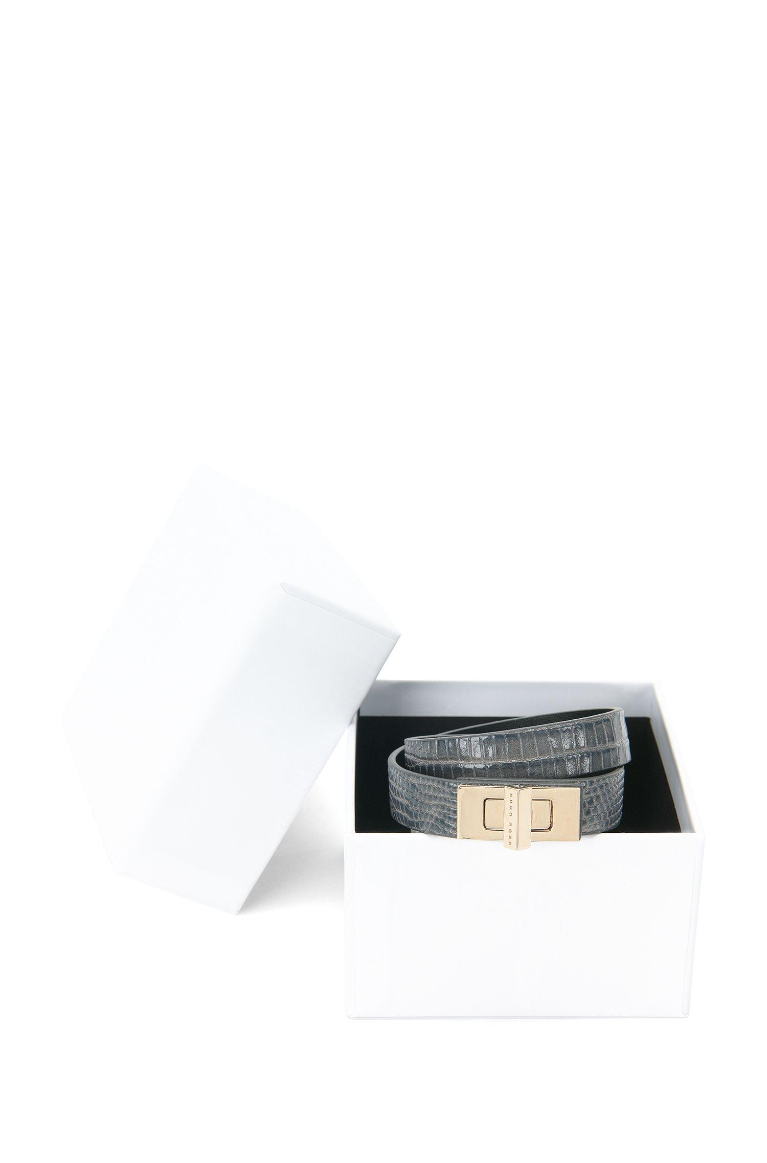 BOSS Bespoke-armband van leer met reptielprint