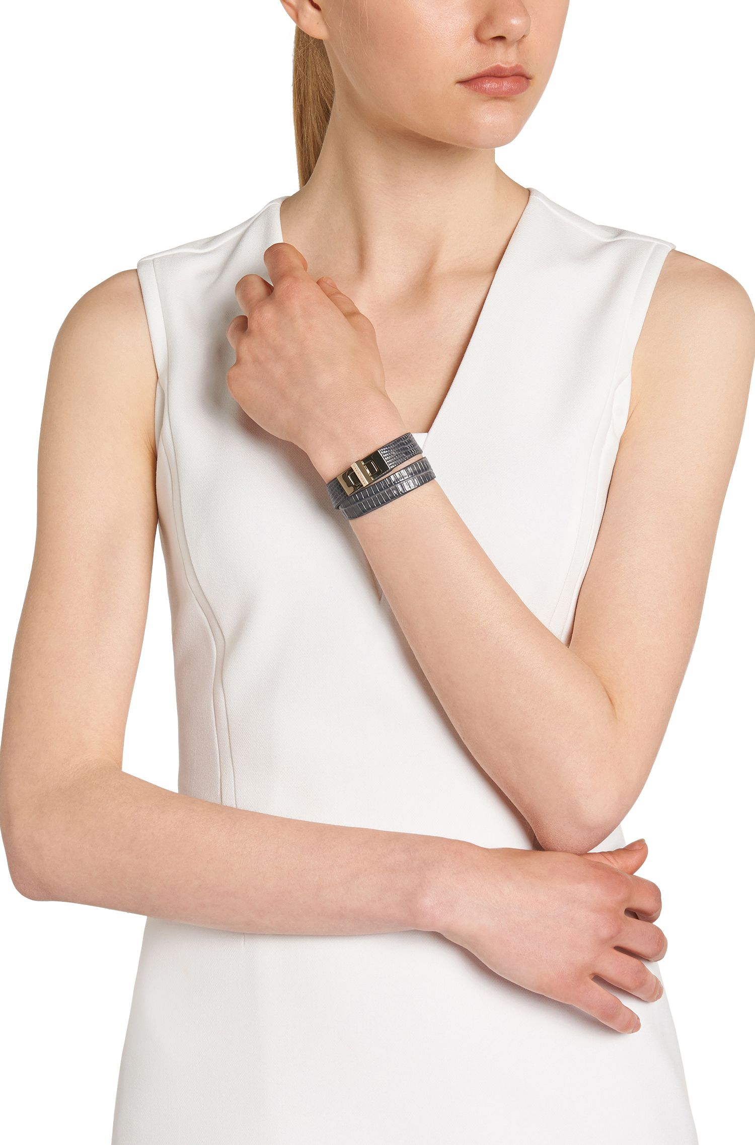 Bracelet BOSS Bespoke en cuir à imprimé reptile