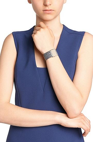 Armband aus geprägtem Leder: 'Romi Bracelet-LA', Anthrazit