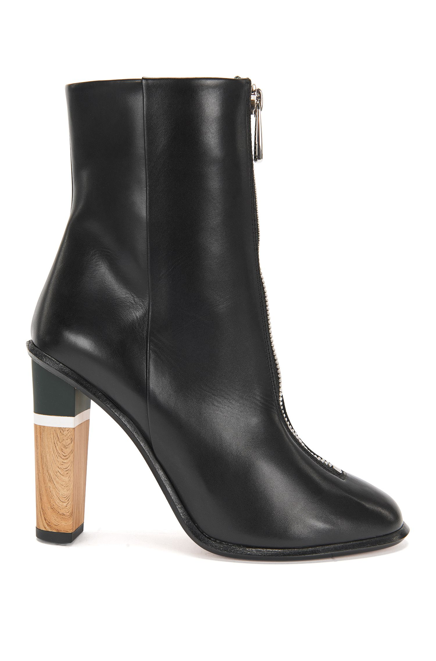 Runway Edition ankle boots in leather with a zip at the front: 'Zip Bootie'