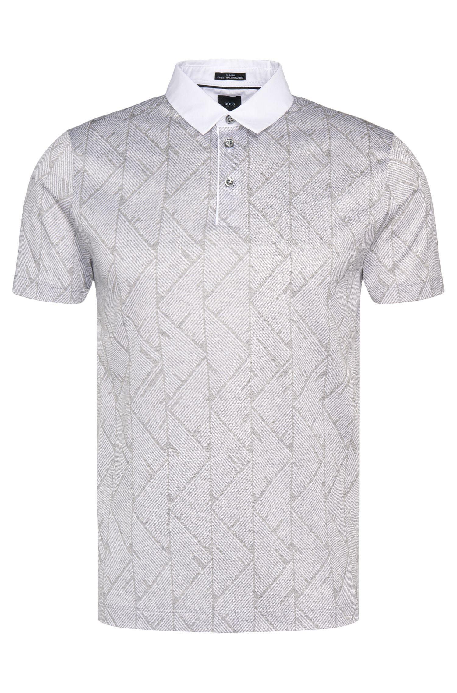 Slim-fit poloshirt uit de Tailored-collectie, van katoen met all-over print: 'T-Pryde 25'