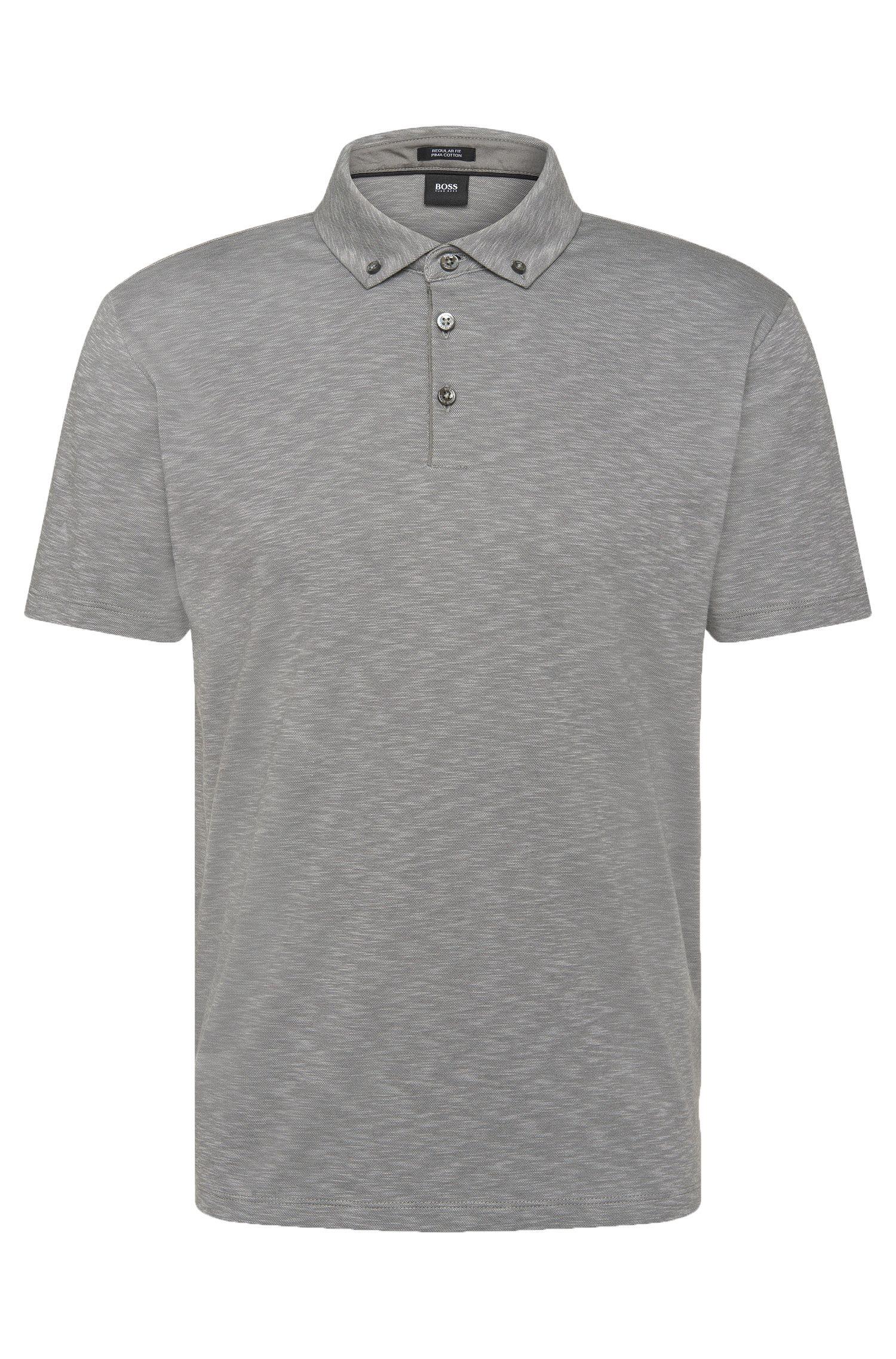 Mottled regular-fit polo shirt in pima cotton: 'Pirsson 01'