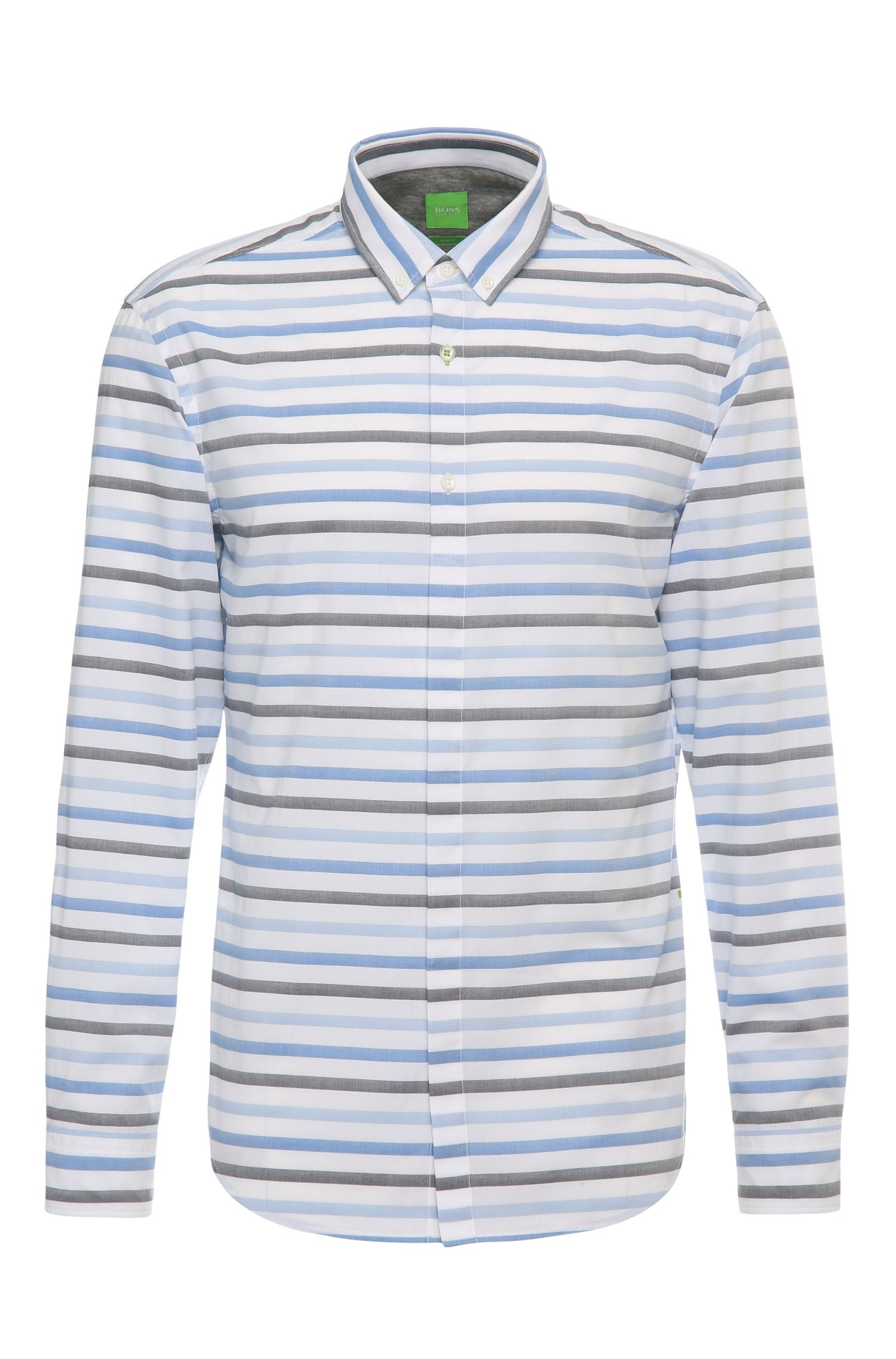 Slim-fit cotton shirt with stripes and texture: 'Belfiore'