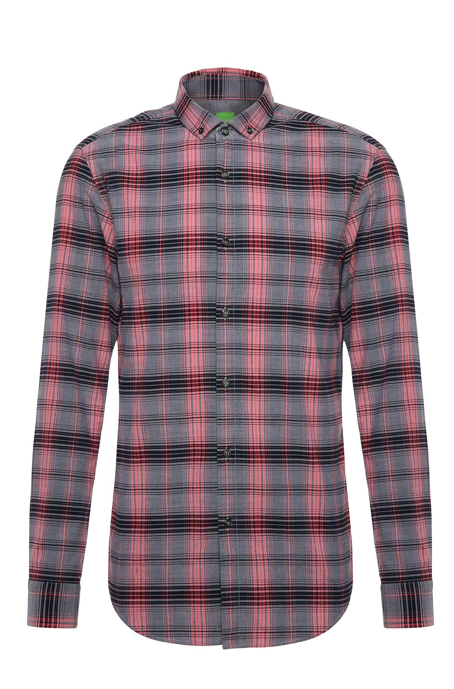 Checked slim-fit shirt in cotton: 'C-Bilia'