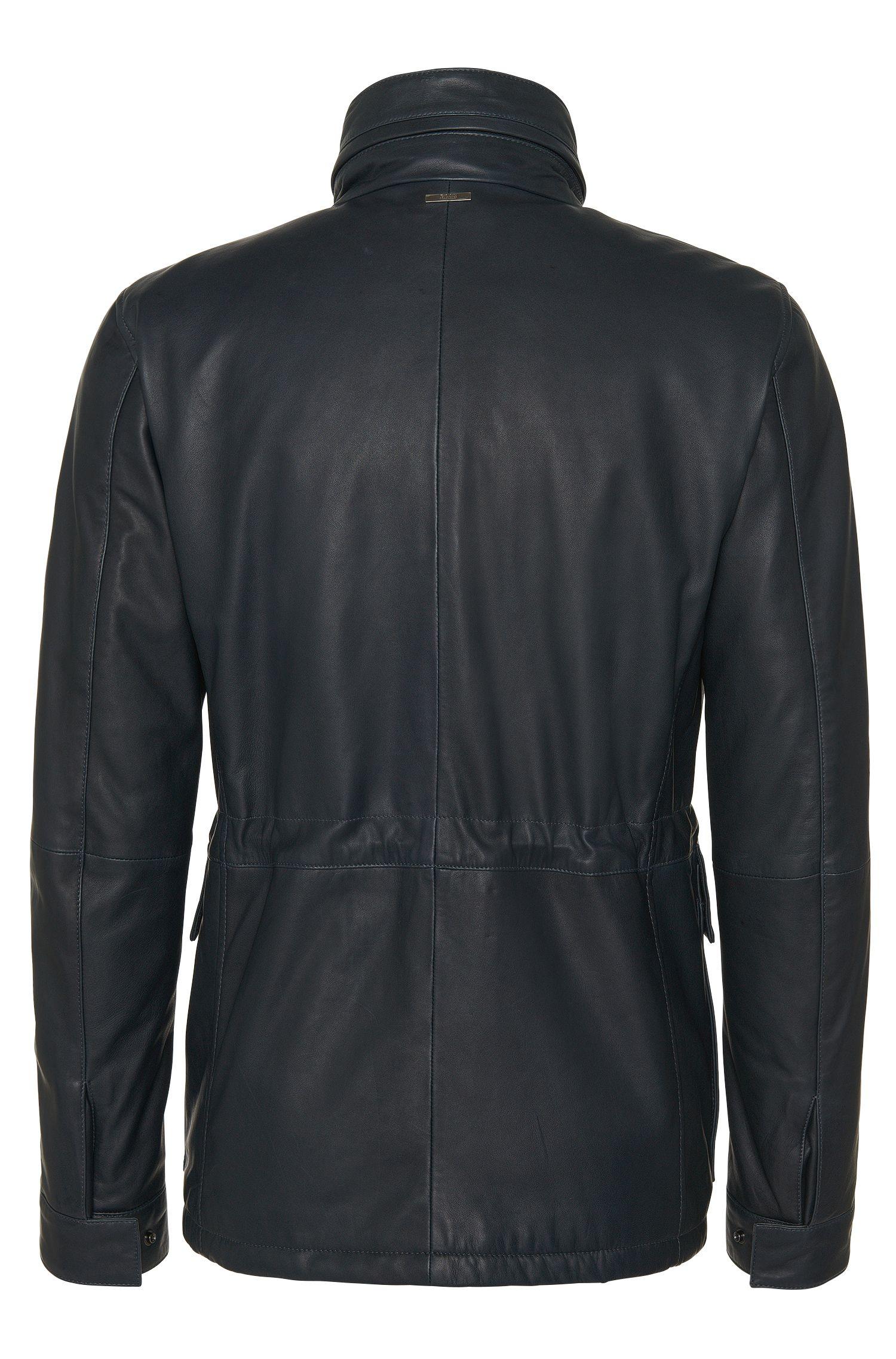 Lederjacke mit Tunnelzug und aufgesetzten Taschen: 'Arneo'