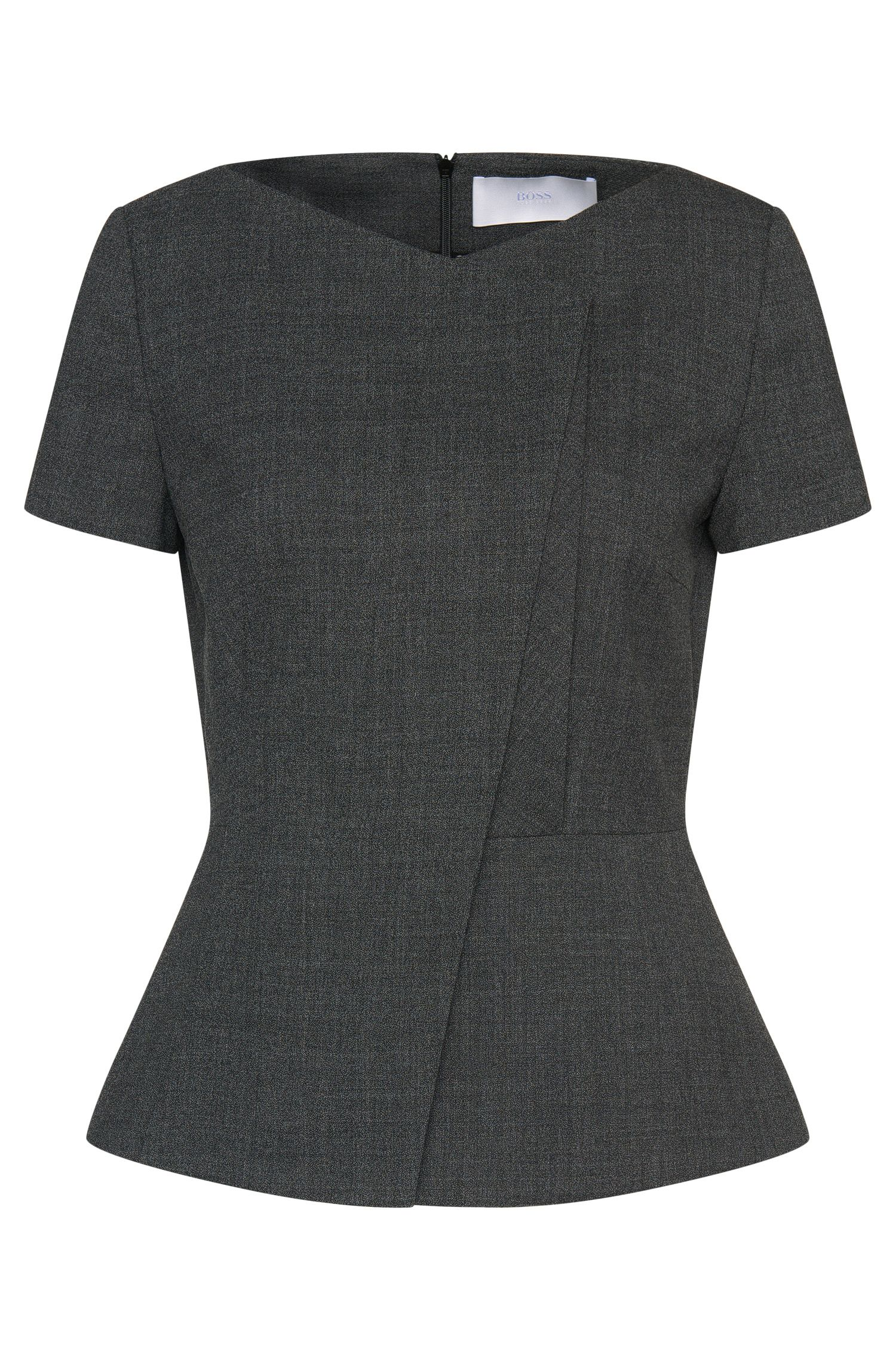 Top in stretch new wool with asymmetric front: 'Iadela'