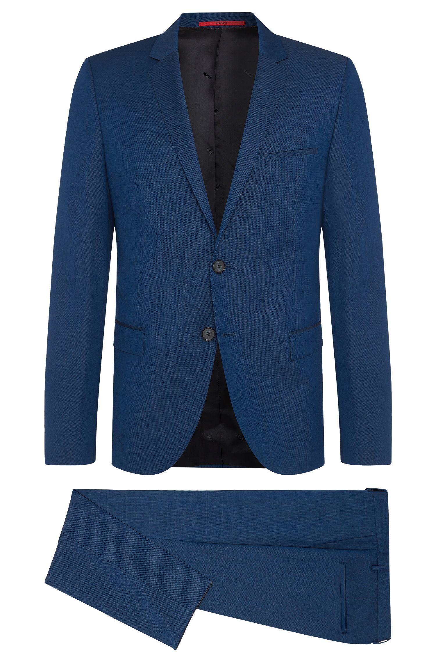 Fein gemusterter Slim-Fit Anzug aus Schurwolle: 'Arti/Heilon'