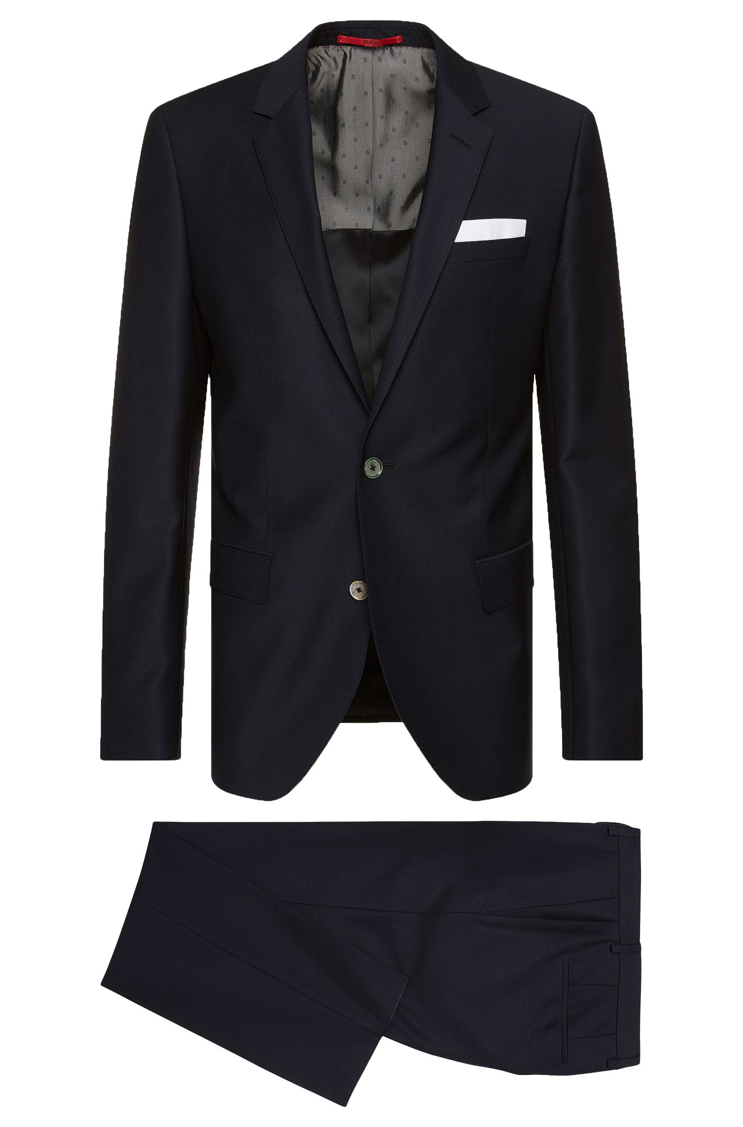 Slim-fit suit in new wool with an integral pocket square: 'C-Hutson1/C-Gander'