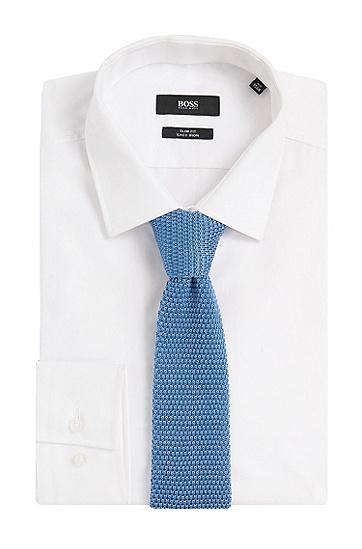 Strukturierte Tailored Krawatte aus reiner Seide: 'T-Tie 6 cm knitted', Hellblau
