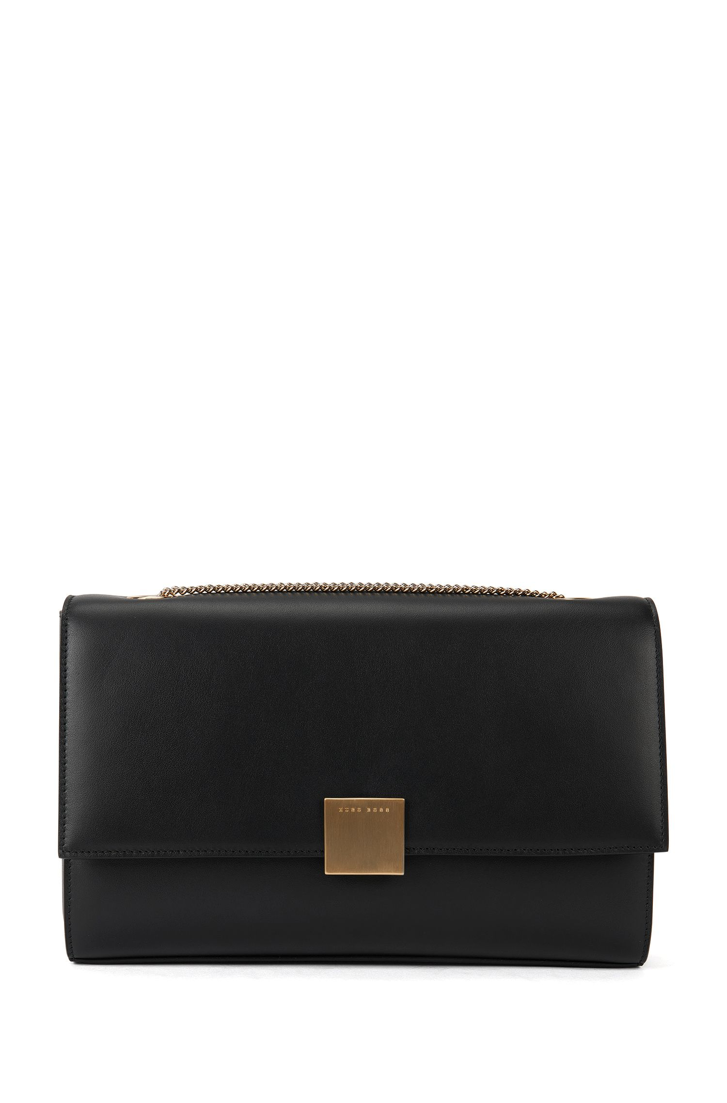 Leather clutch bag with detachable shoulder chain: 'Munich Flap-N'