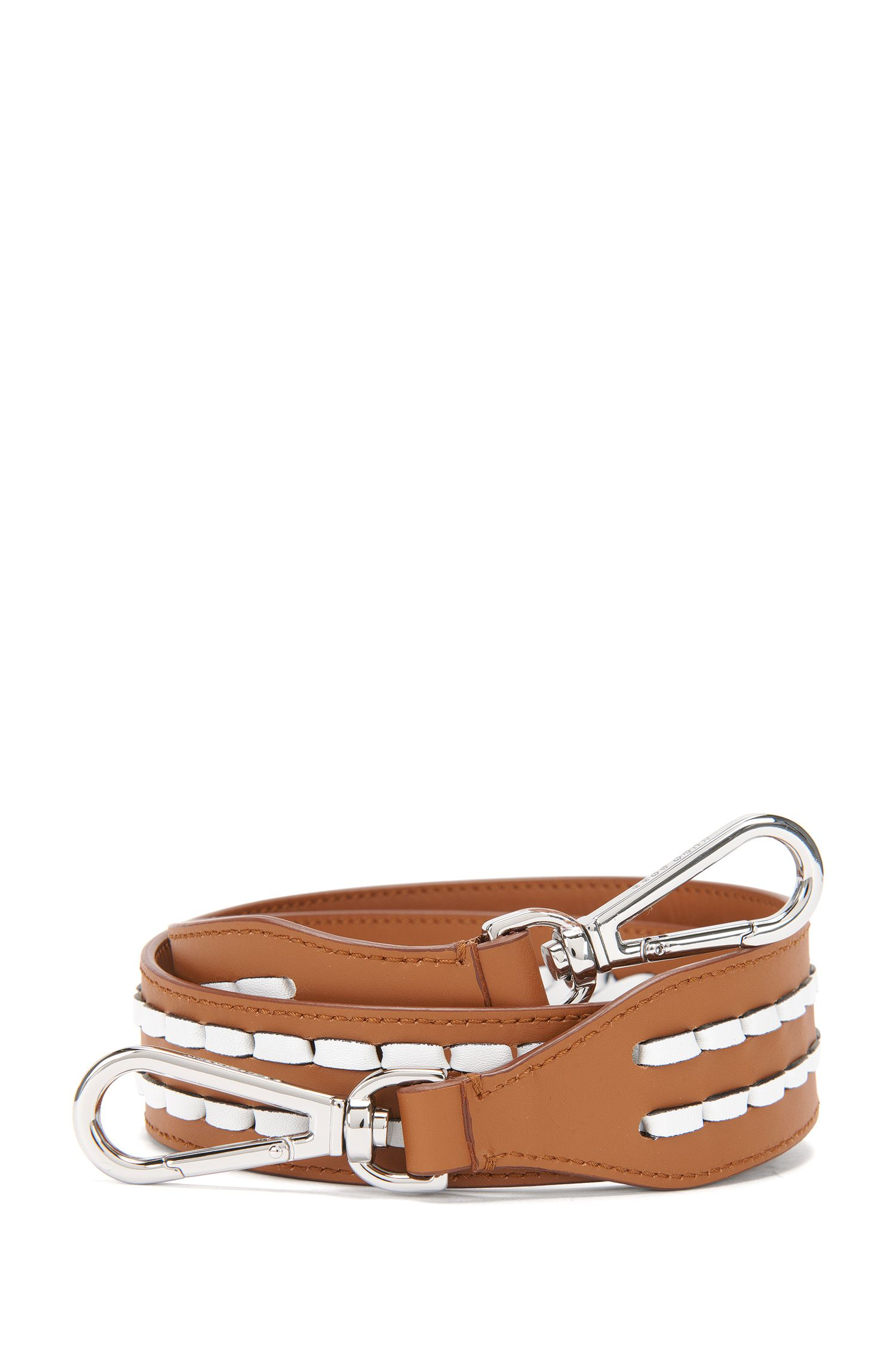 Leather shoulder strap with braided detail: 'Braid S. Strap'