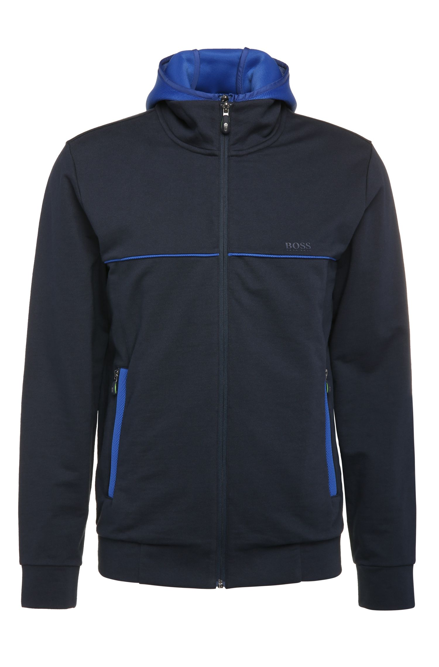 Blouson sweat Regular Fit en coton avec empiècements contrastants : « Sybrid »