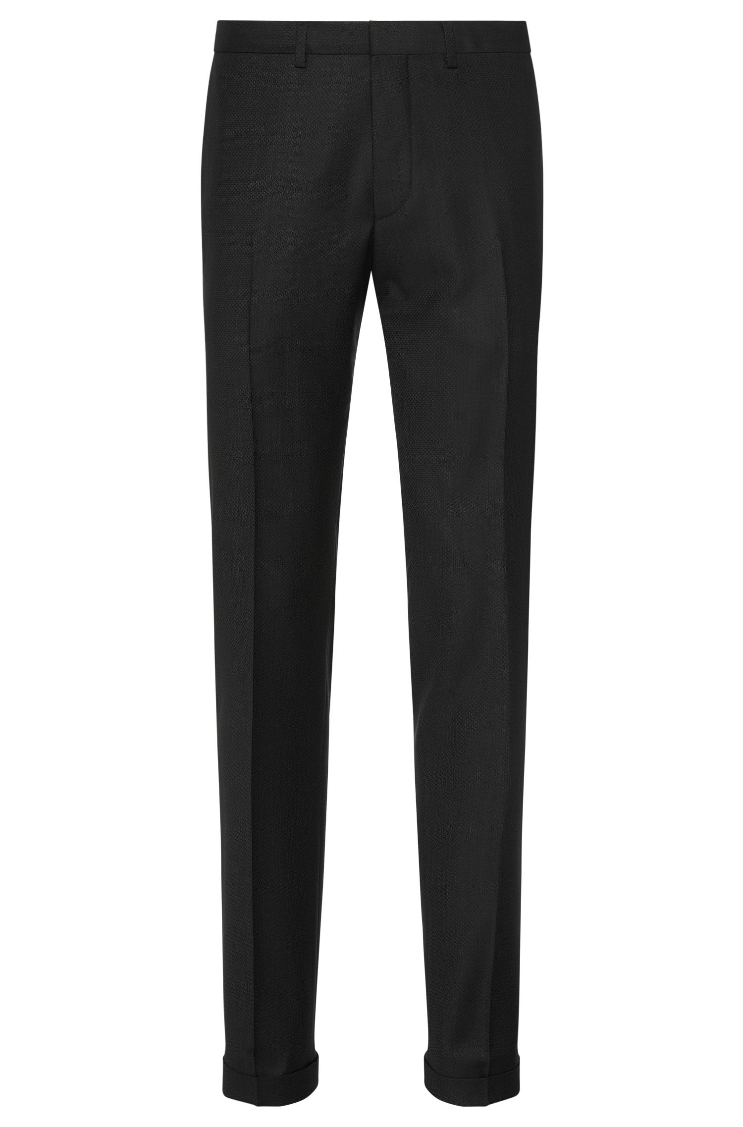 Pantalon Extra Slim Fit en laine vierge finement structurée : « C-Wyn »
