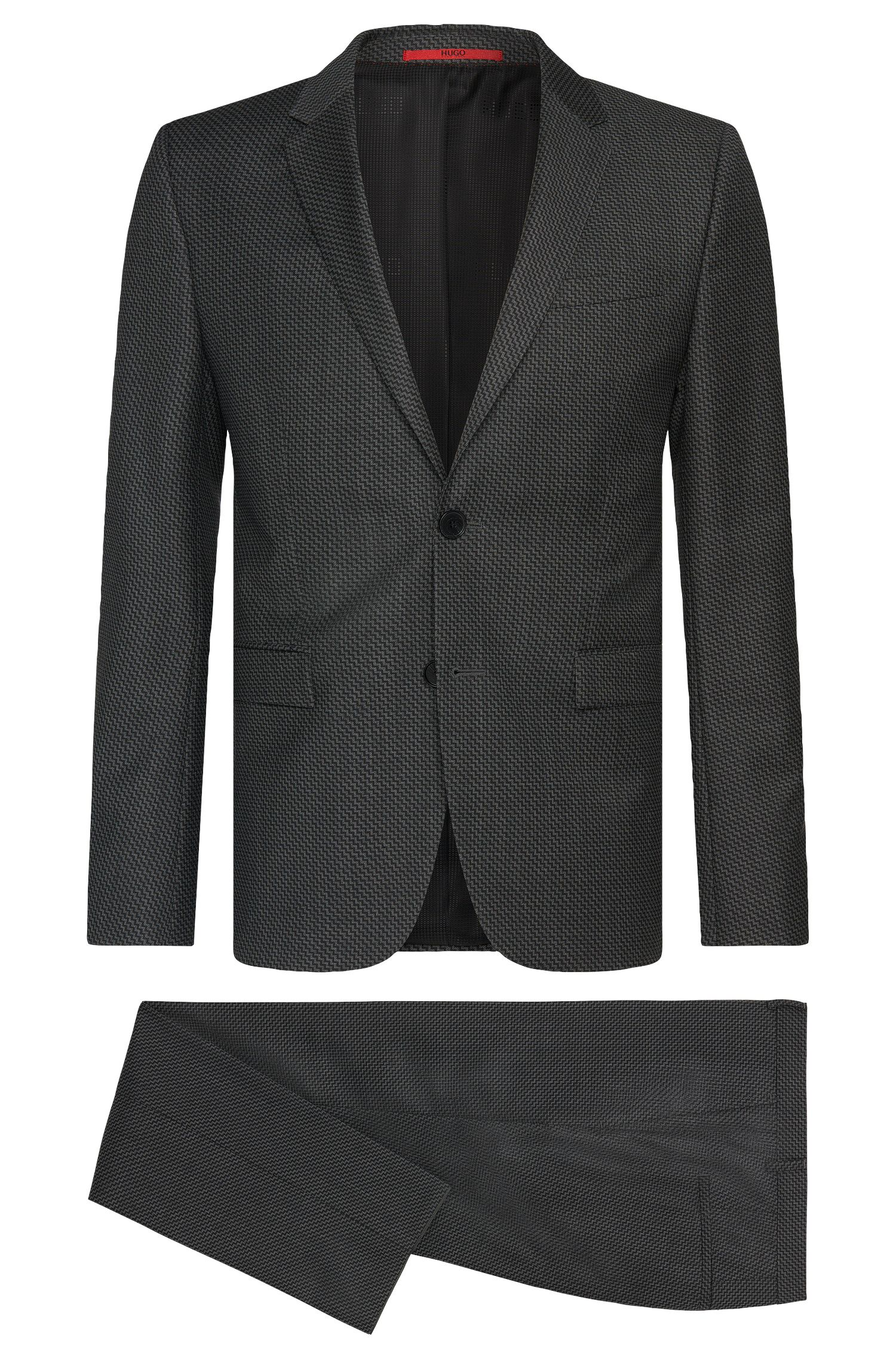 Patterned slim-fit suit in new wool: 'Astian/Hets'