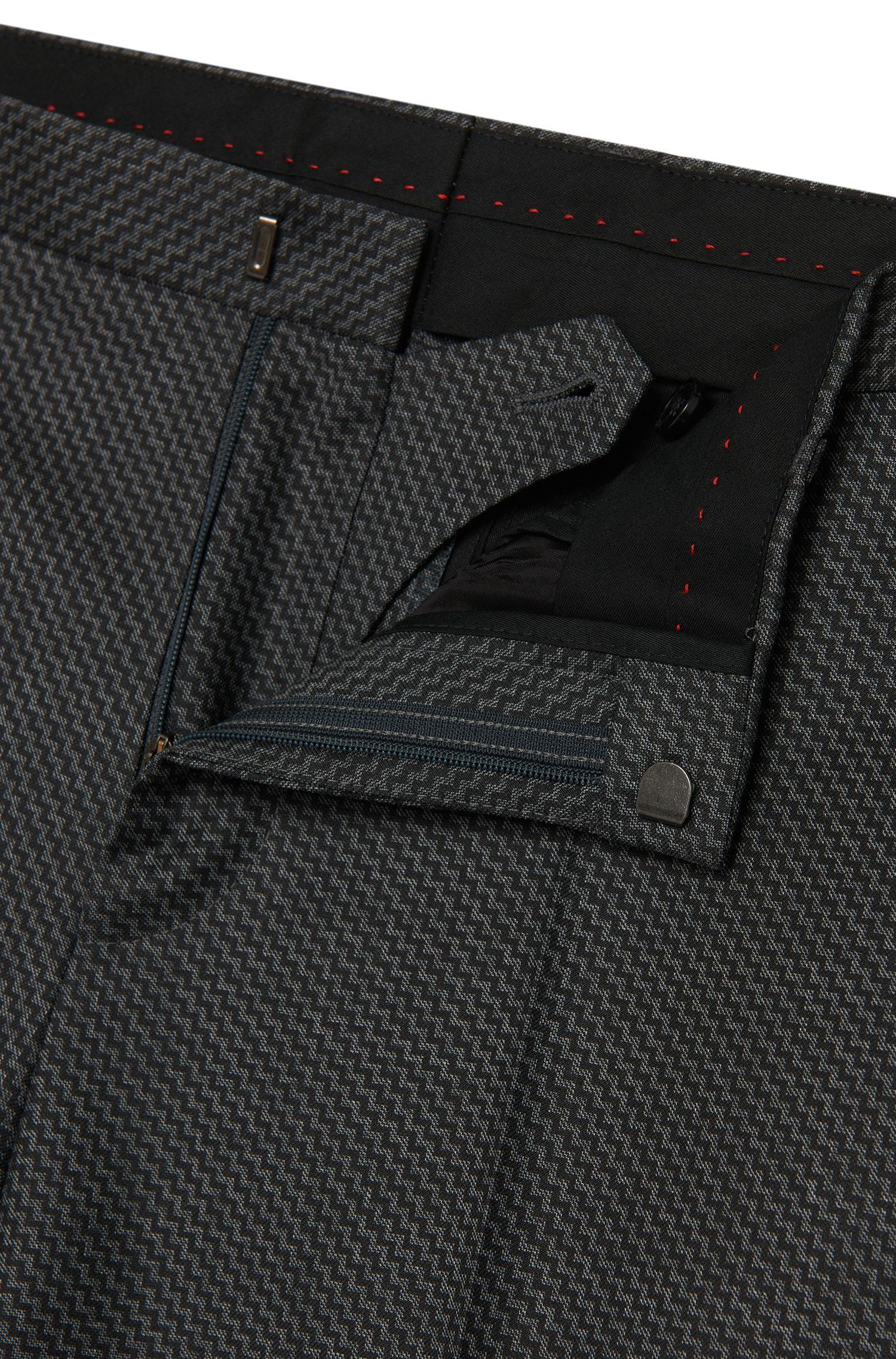 Gemusterter Slim-Fit Anzug aus Schurwolle: 'Astian/Hets'