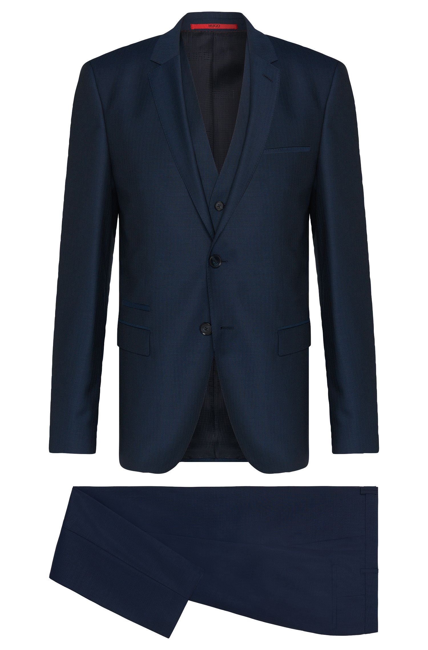 Finely patterned slim-fit suit in new wool with waistcoat: 'Arney/Wilord/Hyls'