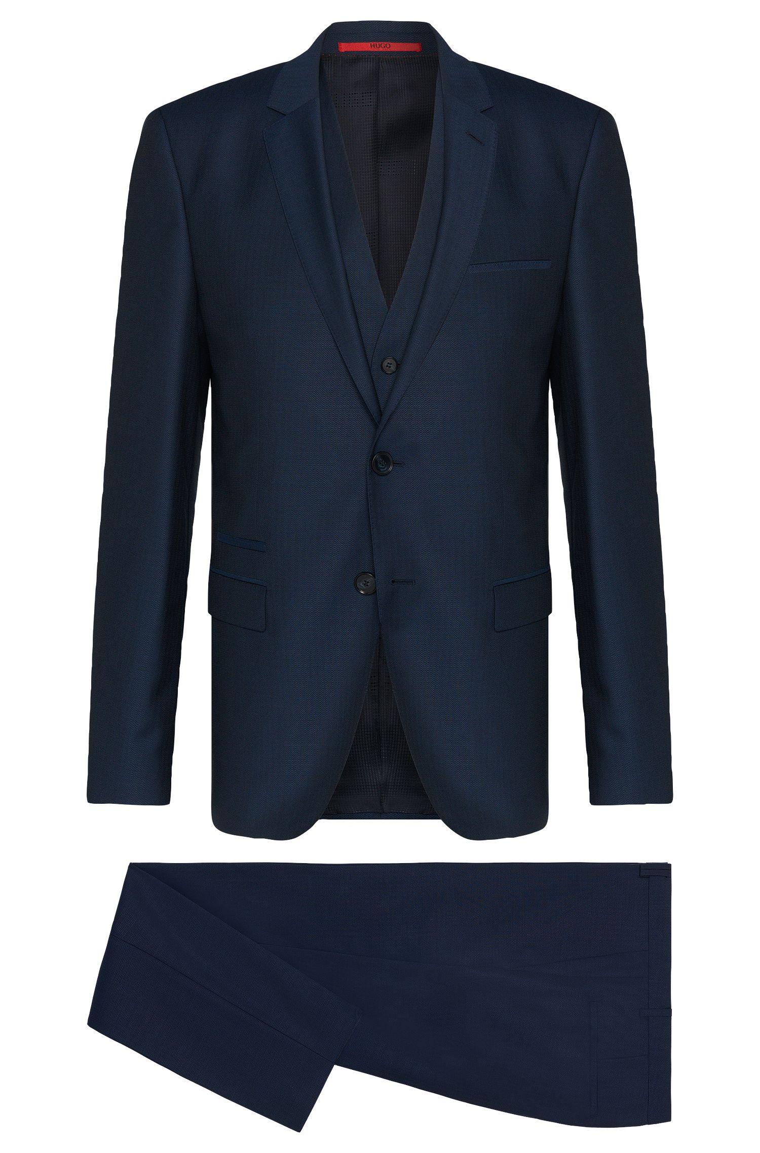 Traje slim fit en lana virgen con estampado fino y chaleco: 'Arney/Wilord/Hyls'