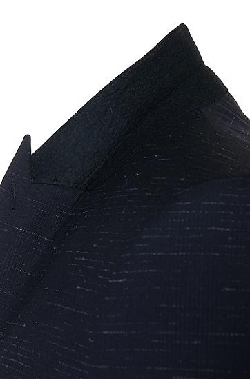 Extra Slim-Fit Anzug aus Schurwolle mit feinem Linienmuster: 'Astor/Hends', Dunkelblau