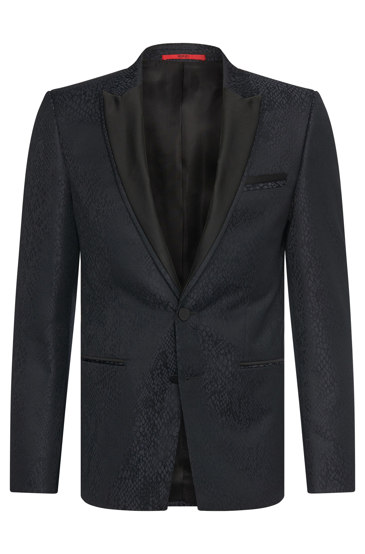 Extra slim-fit jacket in new-wool blend with integrated pocket square: 'Alery'