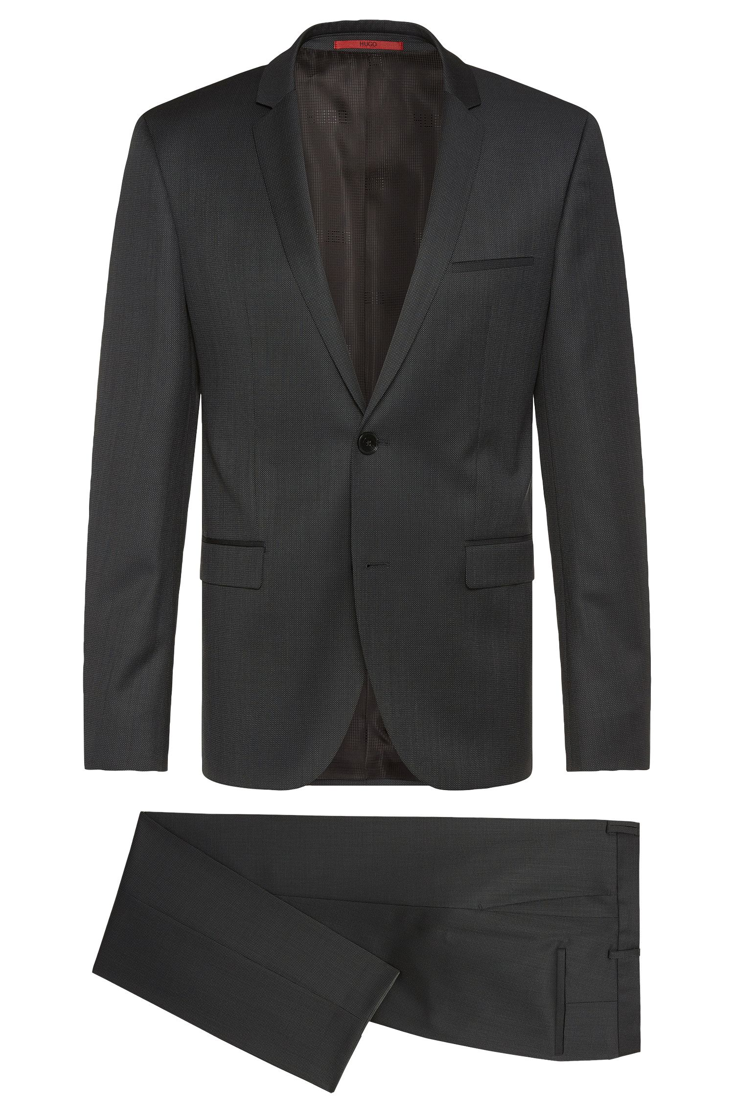Finely patterned slim-fit suit in new wool: 'Adris4/Heibo3'