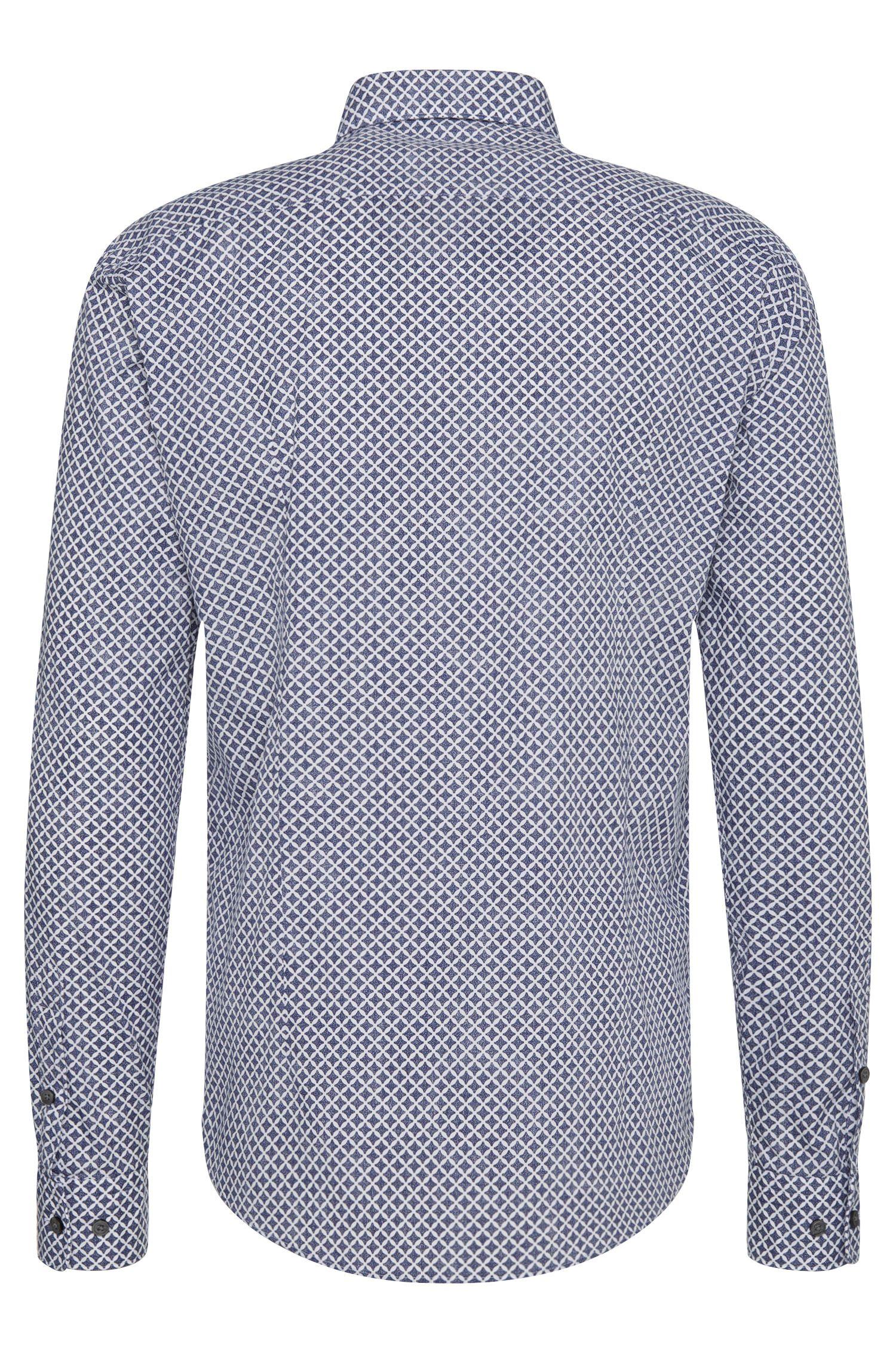 Slim-fit overhemd van zuivere katoen met dessin: 'Robbie'