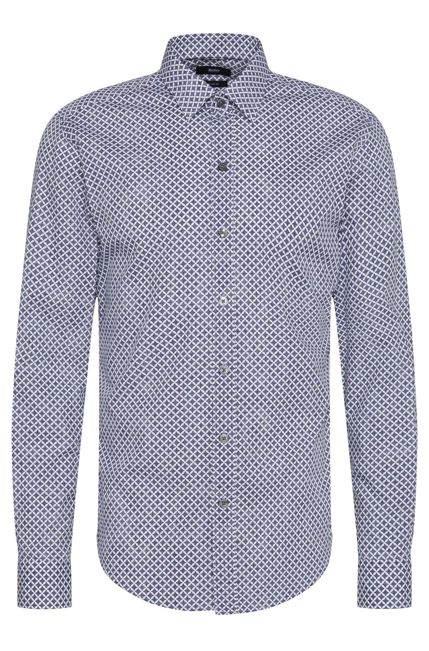 Gemustertes Slim-Fit Hemd aus reiner Baumwolle: 'Robbie'