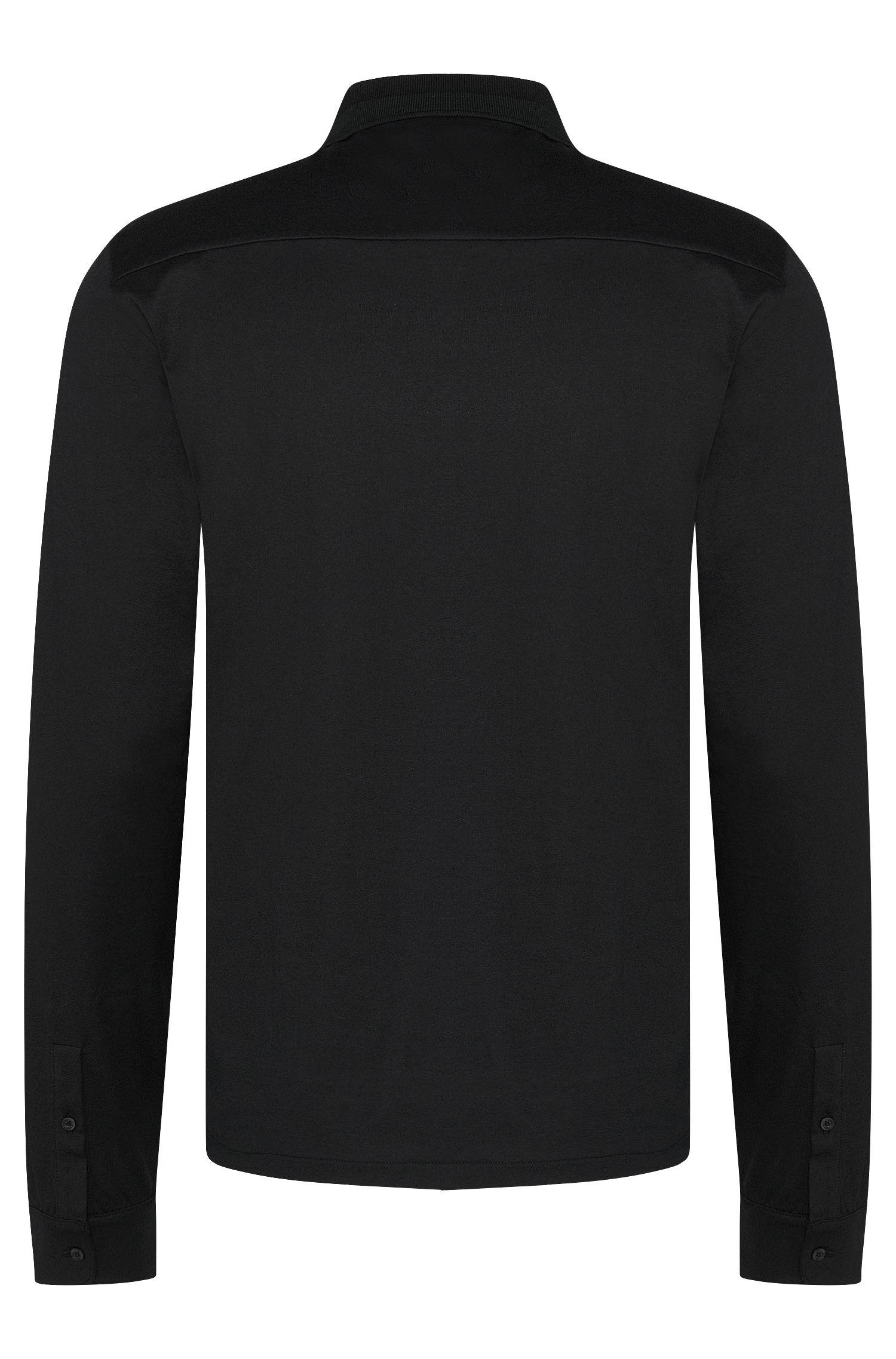 Unifarbenes Regular-Fit Lonsgleeve-Polo aus Baumwolle: 'Daesars'