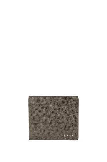 Portemonnaie aus strukturiertem Leder: 'Signature_4cc coin B', Dunkelgrau