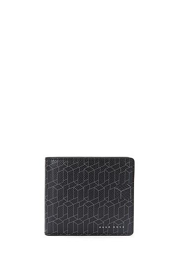 Geldbörse aus Leder mit geometrischem Print: 'Signature H_8 cc', Dunkelgrau
