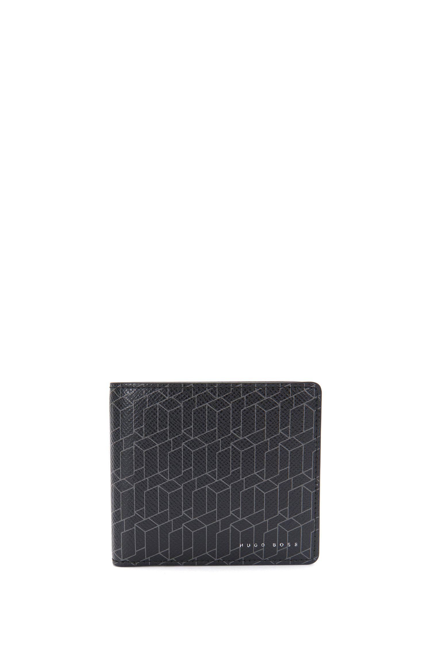 Portefeuille en cuir à imprimé graphique, avec compartiment pour la monnaie: «Signature H_4cc coin»