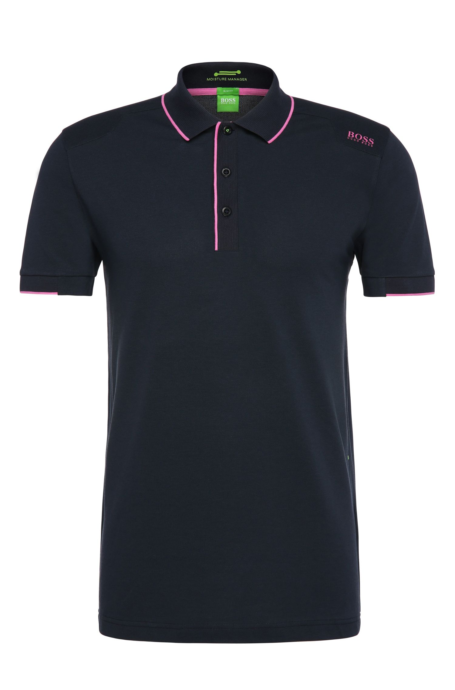 Polo fonctionnel Slim Fit en coton mélangé extensible : « Paule 1 »
