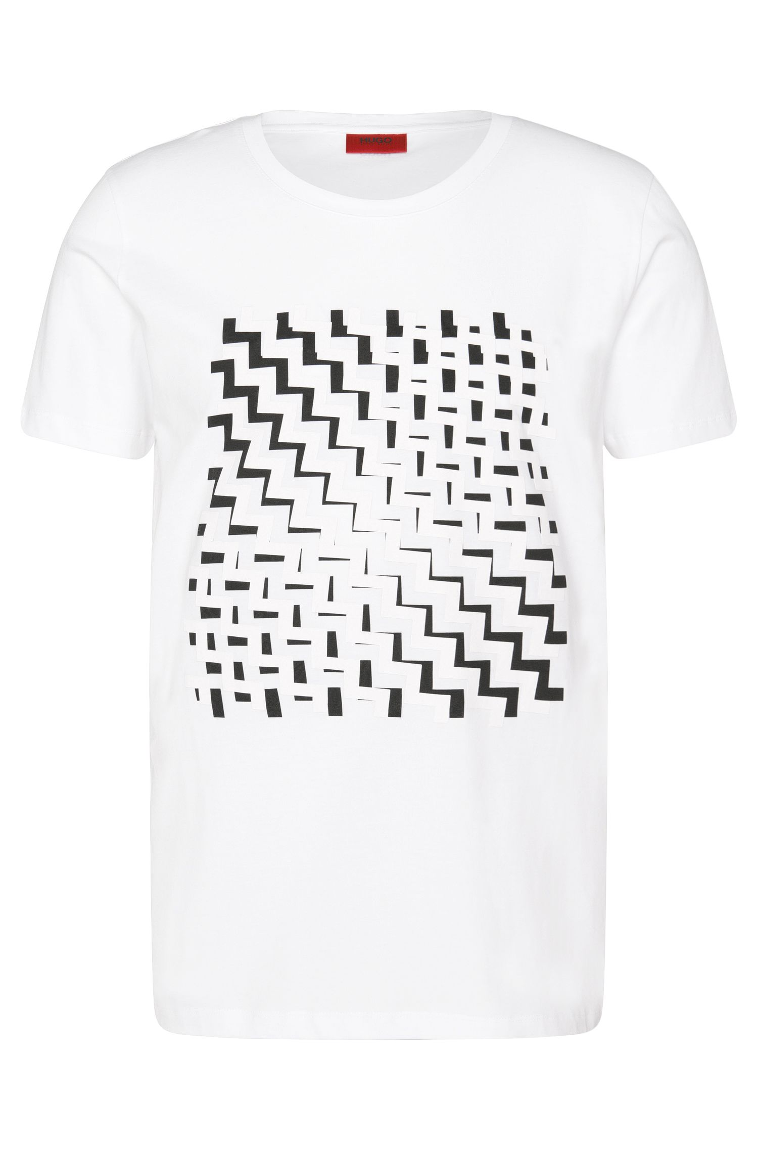 Loose-fit t-shirt in cotton with rubberised print: 'Dorved'