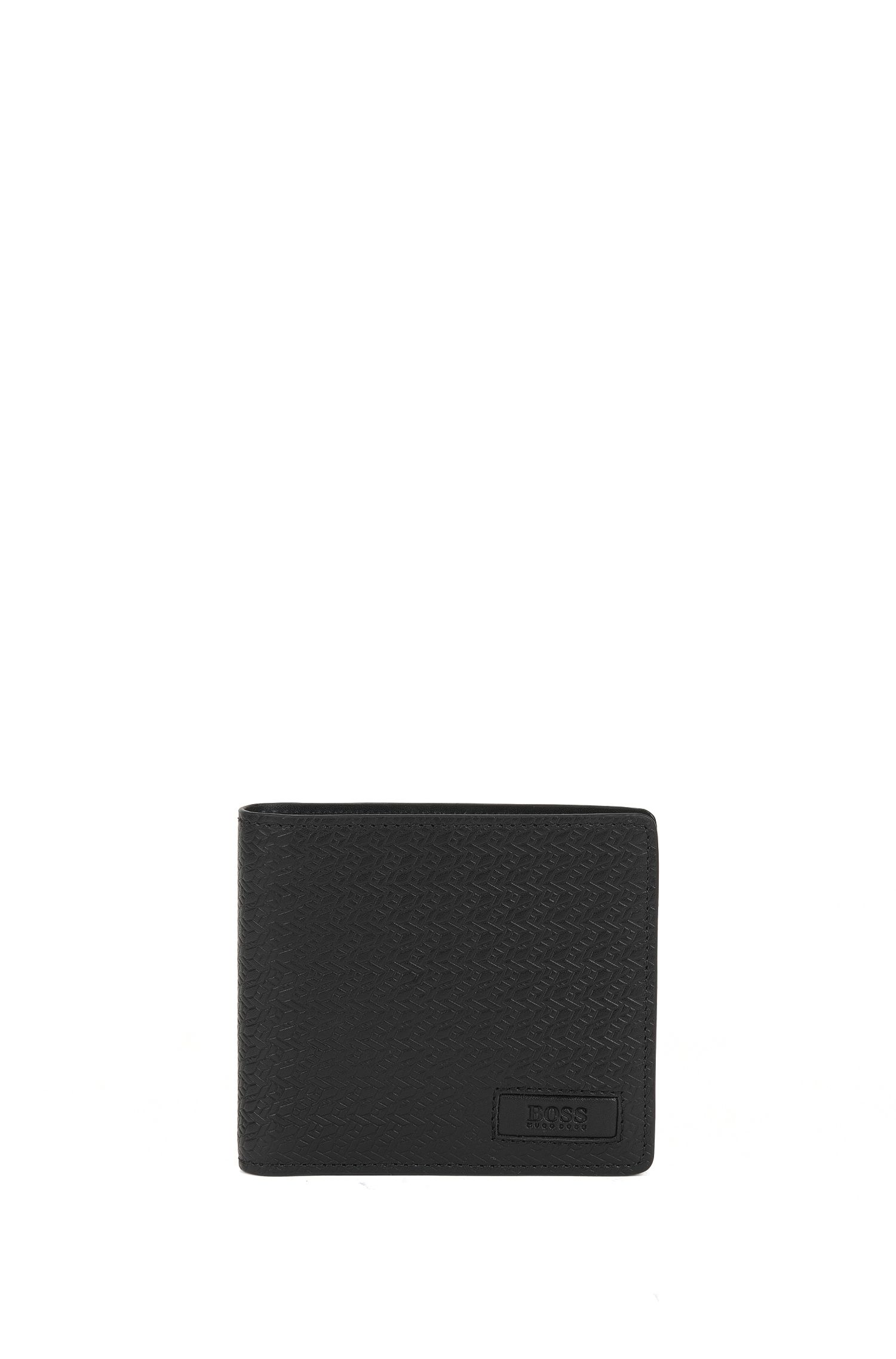 Set comprising a wallet and card case in leather with a textured pattern: 'GbB17PS_4cc coin S c'