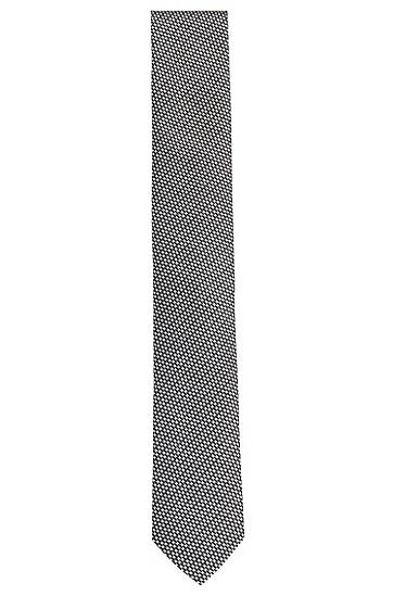 Allover gemusterte Krawatte aus Seide: 'Tie cm 6', Schwarz