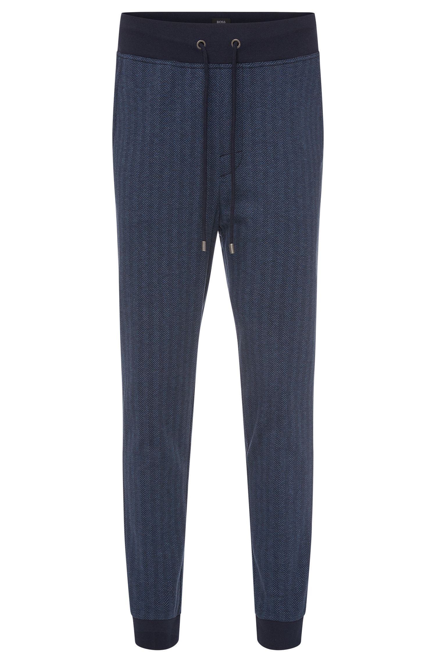Regular-fit sweat trousers in cotton in herringbone design: 'Long Pant Cuffs'