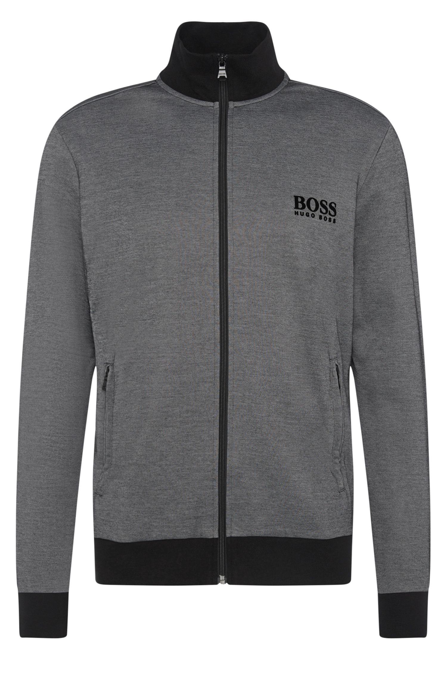 Mottled sweatshirt jacket in cotton blend: 'Jacket Zip'