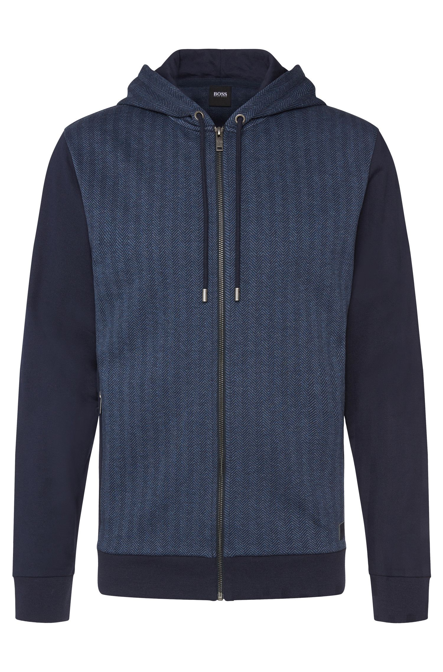Blouson sweat en coton à motif, à capuche : « Jacket Hooded »
