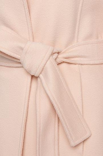 Mantel aus reiner Schurwolle mit Bindegürtel: 'Canika1', Hellbeige