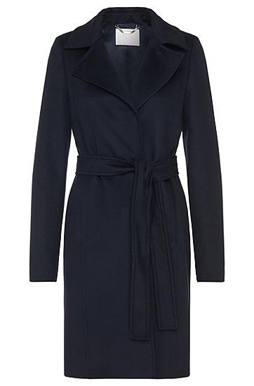 Mantel aus reiner Schurwolle mit Bindegürtel: 'Canika1', Dunkelblau