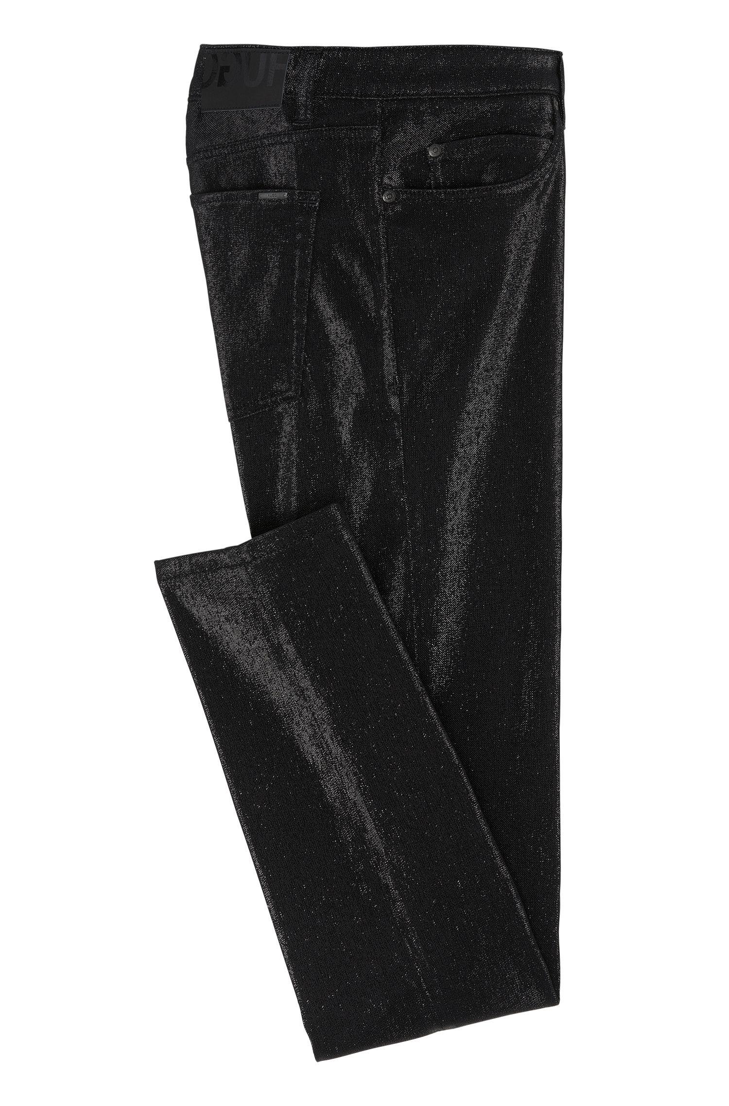 Super skinny-fit broek van een katoenmix in metallic-ontwerp: 'HUGO 131'