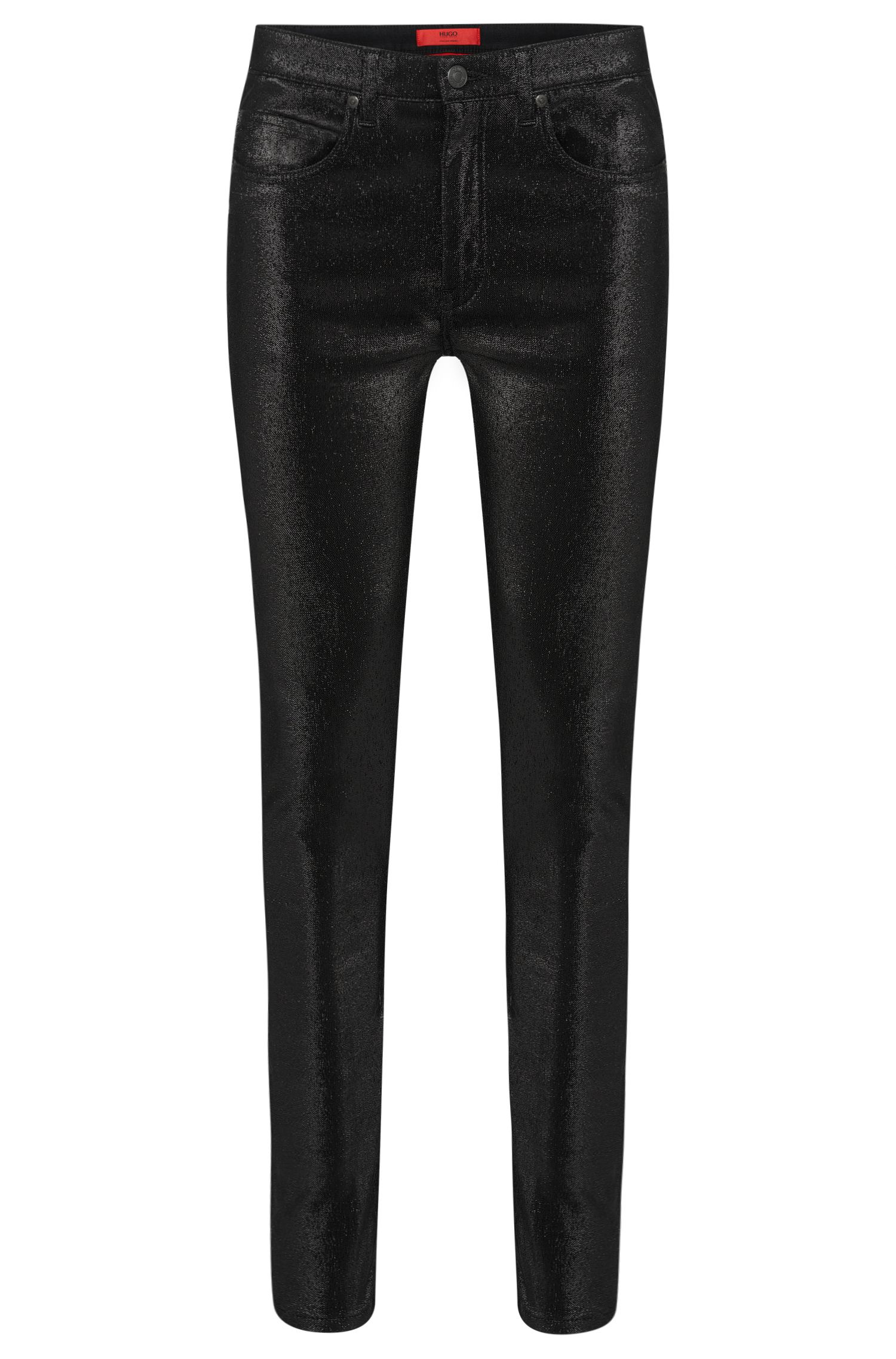 Super skinny-fit trousers in cotton blend in metallic design: 'HUGO 131'