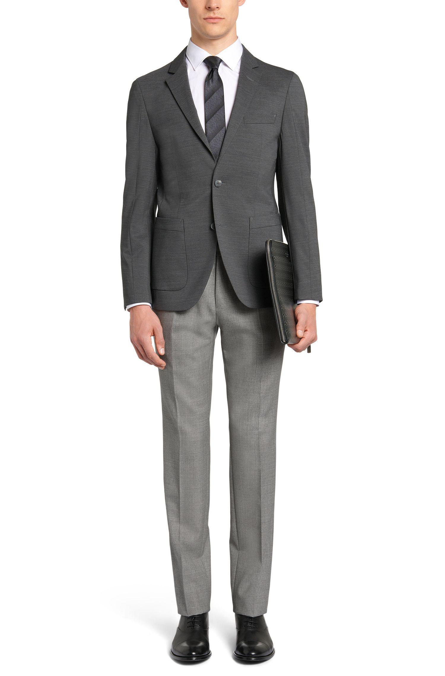 Pantalon Slim Fit Tailored chiné en laine vierge avec de la soie: «T-Gavril»